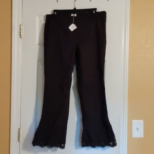 Nwt! Black Cropped Lace Pants
